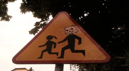 Pedobear kids crossing sign