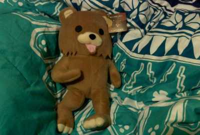 Pedobear teddy in bed