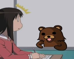 Pedobear looking at schoolgirl