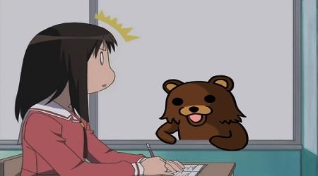 Pedobear looking at schoolgirl